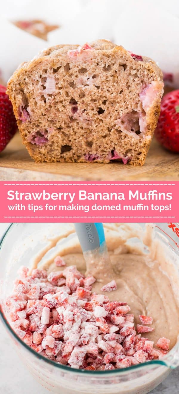 strawberry banana muffin cut in half on wood board