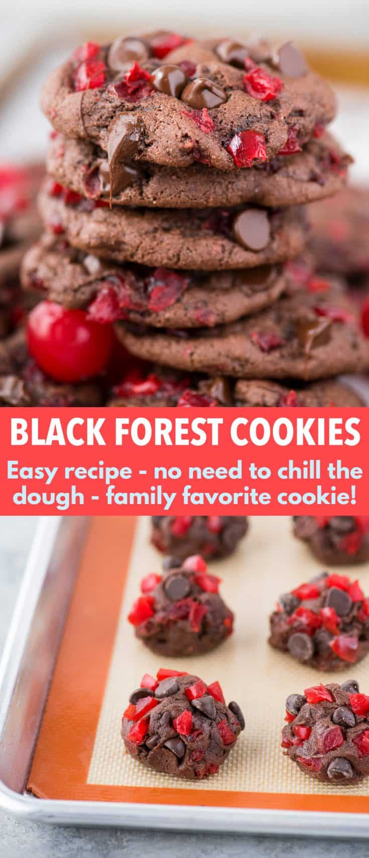 These black forest cookies are chocolate-y, chewy & soft and loaded with maraschino cherries and chocolate chips. Chocolate cherry cookies are easy to make, only 20 minutes from start to finish. Plus no chilling of the dough is needed! #blackforestcookies #cookies #cherrycookies #chocolatecookies