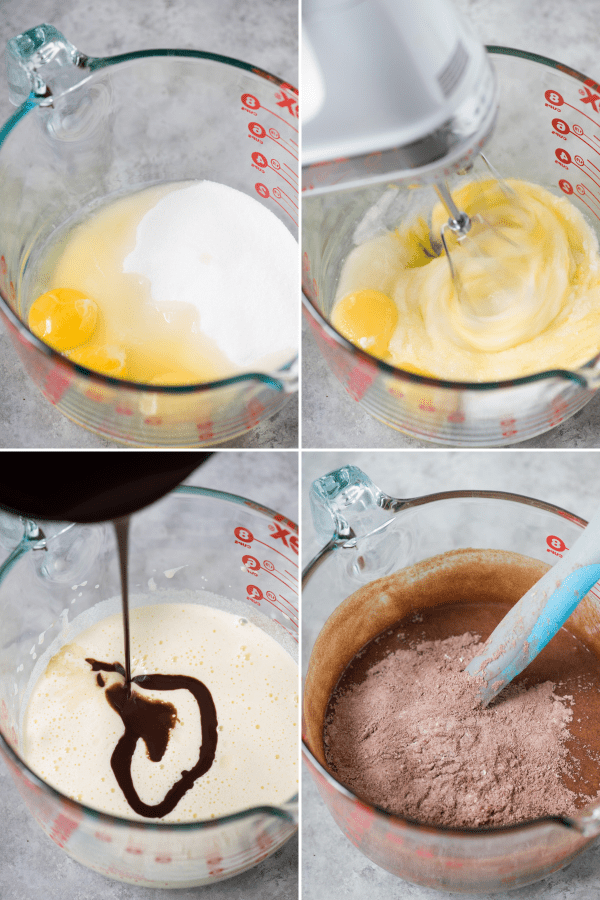 collage image of how to make homemade brownies with glass mixing bowl and baking ingredients