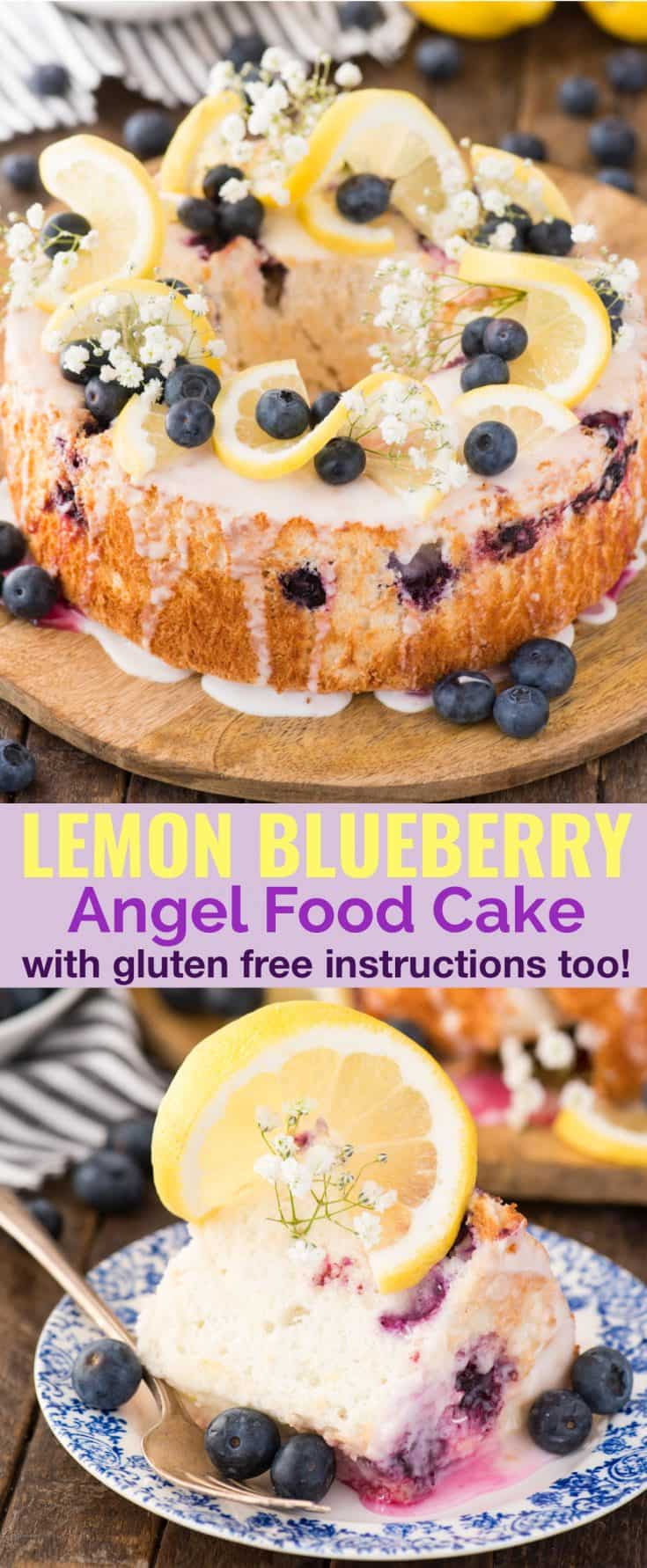 This homemade angel food cake is bursting with lemon and blueberries! There's lemon zest and blueberries baked into the fluffy angel food cake and a fresh lemon glaze on top. We'll show you how to make berry angel food cake without cake flour. Plus ALL THE TIPS for making homemade angel food cake and gluten free angel food cake too! #angelfoodcake #lemonangelfoodcake #angelfoodcakedesserts