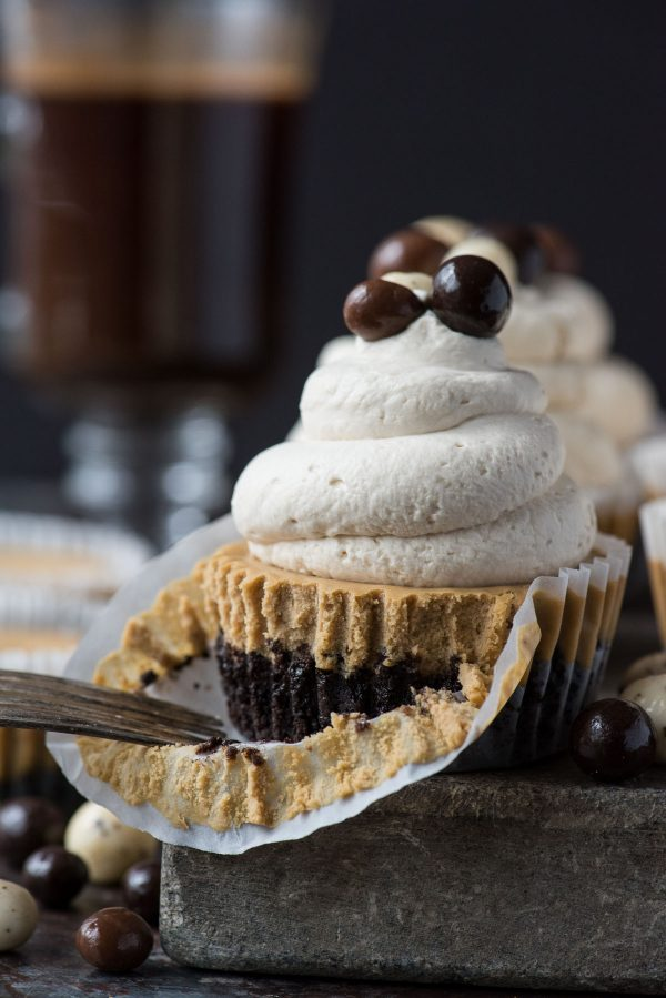 mini coffee cheesecake on stone slab with whipped cream and espresso beans