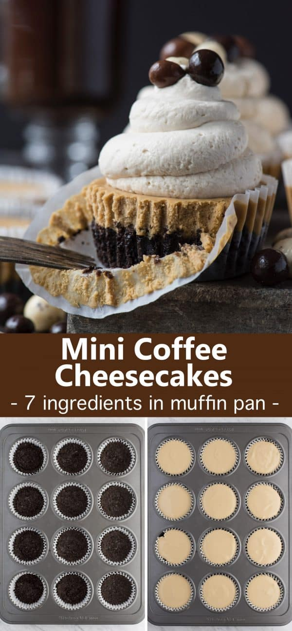 mini coffee cheesecake on stone slab with whipped cream and espresso beans with text overlay