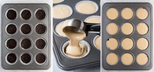 collage image of how to make mini coffee cheesecakes