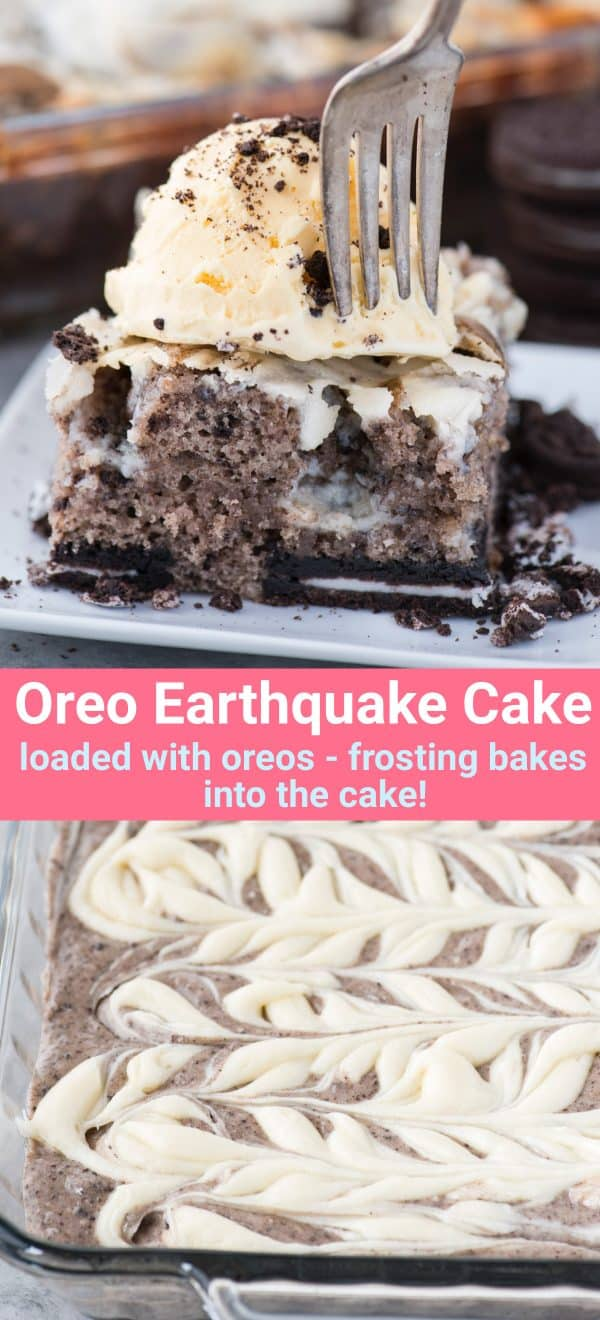 slice of oreo earthquake cake with scoop of vanilla ice cream on top on white plate with text overlay
