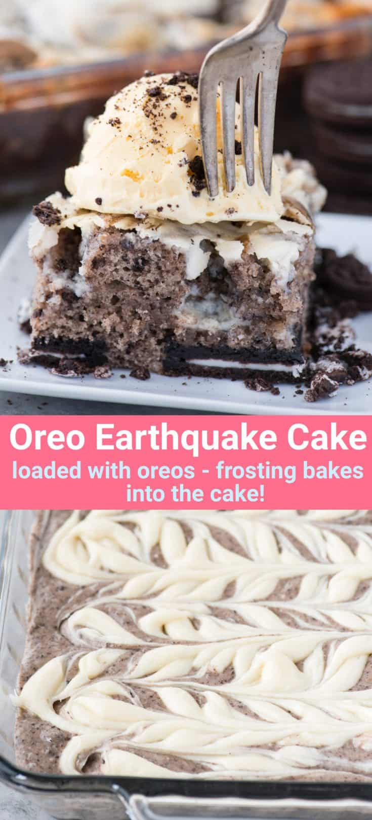 This oreo earthquake cake is a white cake mix loaded with whole oreos and oreo crumbs. Swirl in the cream cheese frosting layer and it bakes into the cake creating frosting filled crevices and cracks on top of the cake. #earthquakecake #oreocake #cake