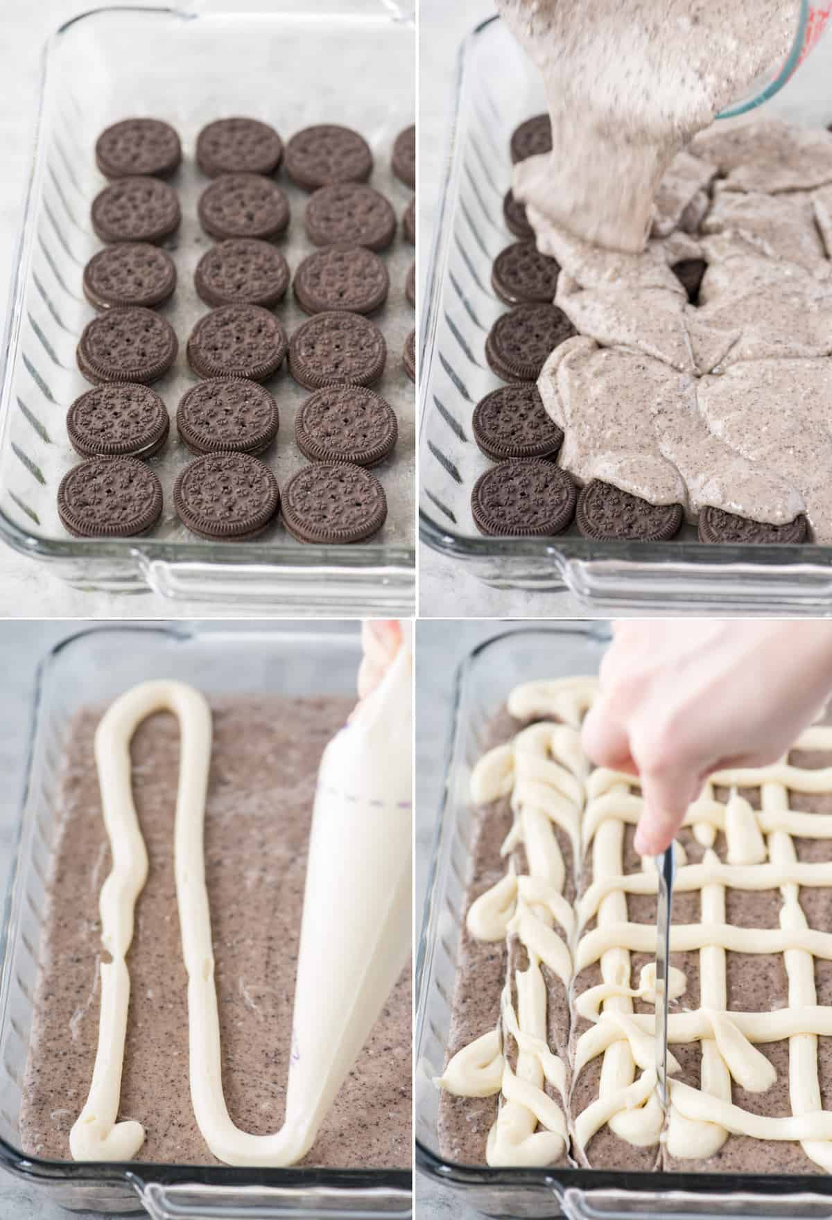 how to make oreo earthquake cake collage with 4 images