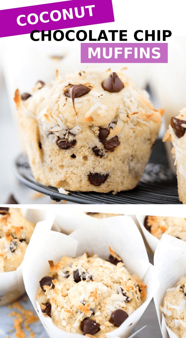 Coconut chocolate chip muffins on black wire cooling rack with text overlay collage