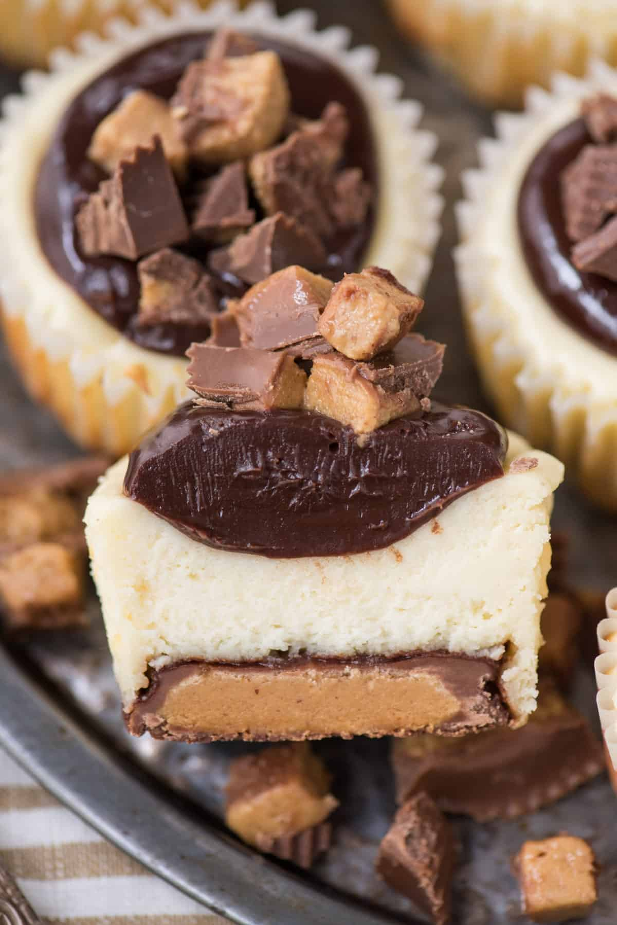Mini Cheesecakes With Reese S Peanut Butter Cup Bottom