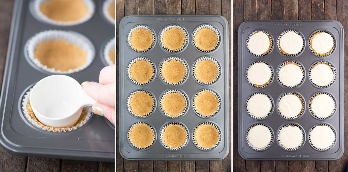 collage image of how to make graham cracker crust for mini cheesecakes