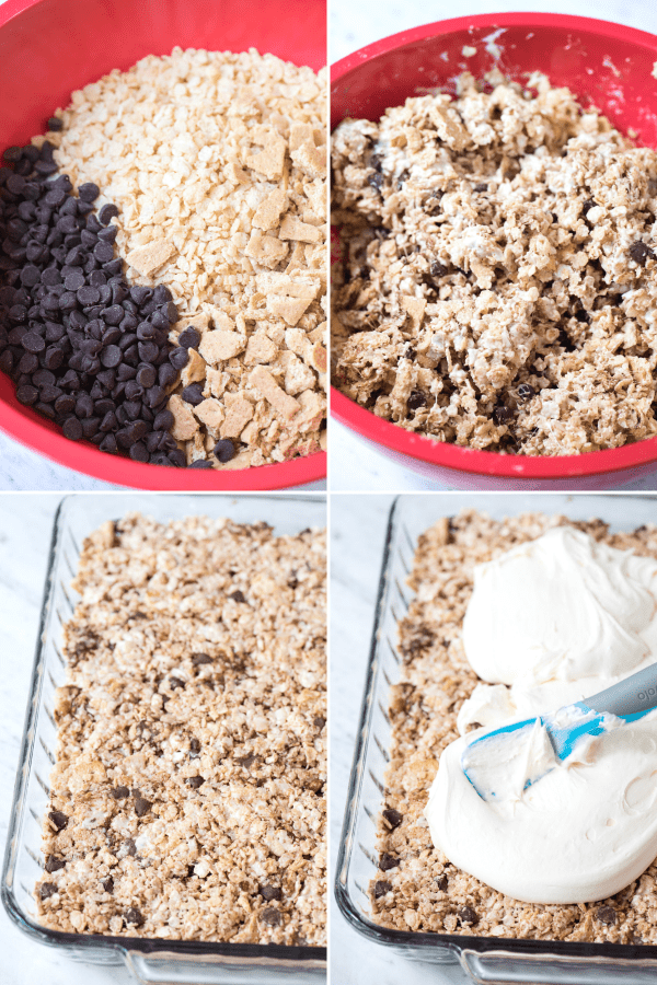 how to make s'mores rice krispie treats collage