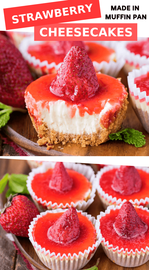 mini plain cheesecakes with strawberry topping on wood serving tray collage with text overlay