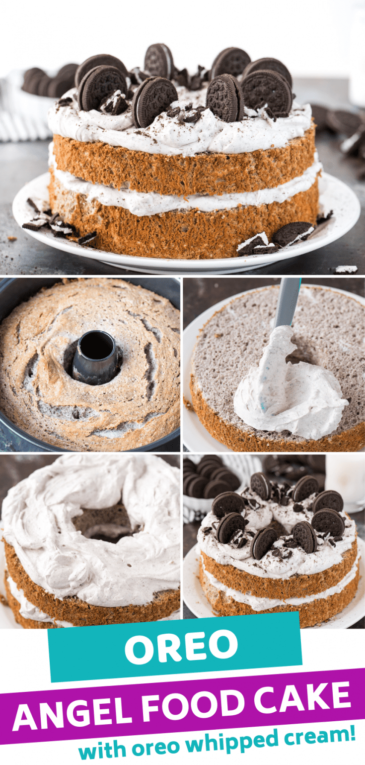 Oreo Angel Food Cake is an EPIC combination of your 2 favorite desserts! Use oreo crumbs in the batter to make cookies and cream angel food cake. Top the angel food cake dessert with oreo whipped cream and more oreos! Plus, we'll show you how to make angel food cake without cake flour. And 7 tips for making homemade angel food cake and GLUTEN FREE angel food cake too! #angelfoodcake #glutenfreeangelfoodcake #oreoangelfoodcake