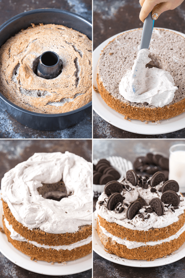 4 image collage of oreo angel food cake with oreo whipped cream and crushed oreo pieces on white plate on dark background