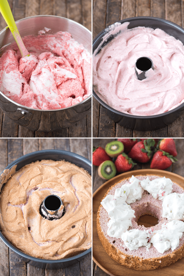 collage image of how to make strawberry angel food cake batter in mixing bowl and in angel food cake pan