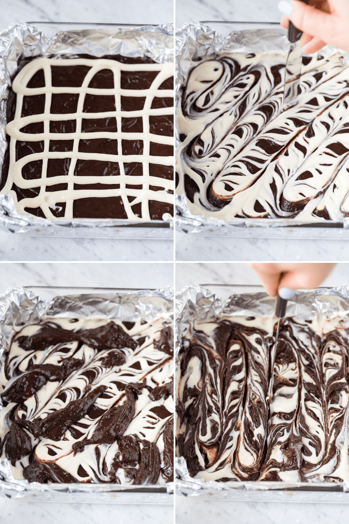 how to make cream cheese swirl brownies collage image