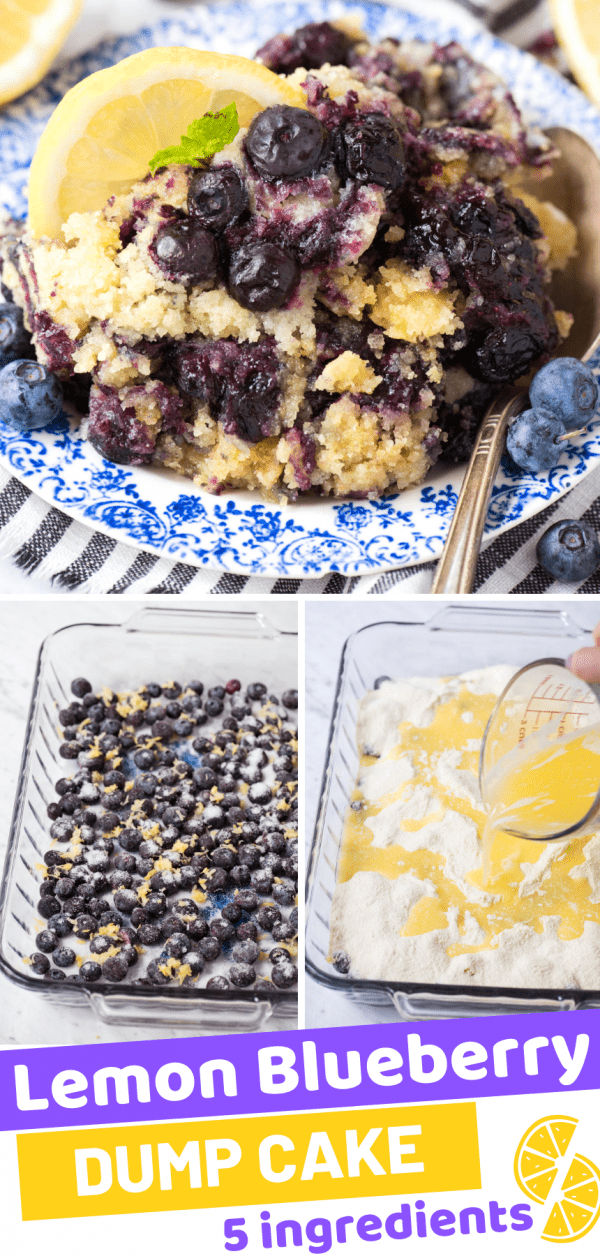lemon blueberry dump cake on blue floral plate with lemon slice and green mint leaf collage with text overlay