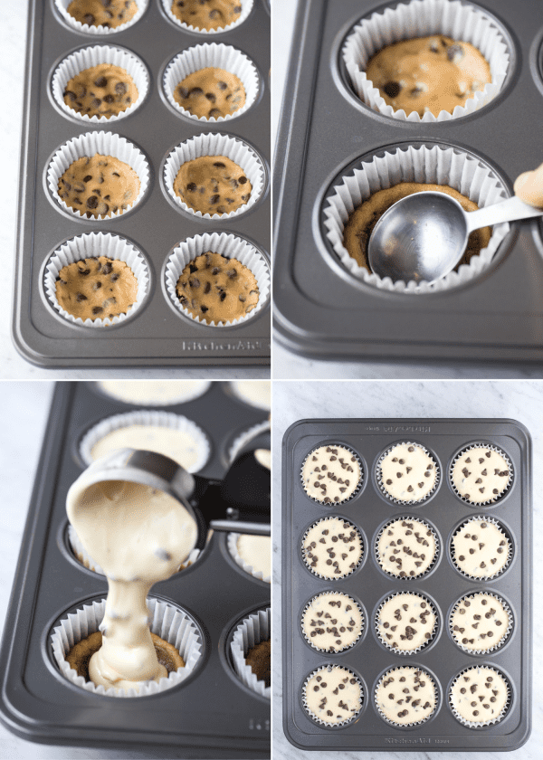 how to make mini chocolate chip cookie dough cheesecakes collage