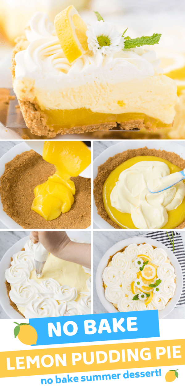 side shot of no bake triple layer lemon pudding pie in white pie plate collage image with text overlay