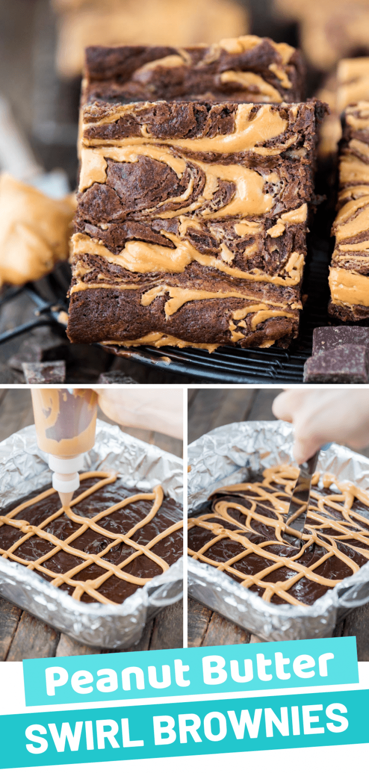 These fudgy and chewy peanut butter swirl brownies are one of our favorite homemade brownie recipes! Lots of tips for making peanut butter brownies at home - like making them fudgier or chewier, plus freezing them for later. We also tested this recipe multiple times and found it makes AWESOME gluten free brownies! #brownies #glutenfreebrownies #peanutbutterswirlbrownies #peanutbutterbrownies