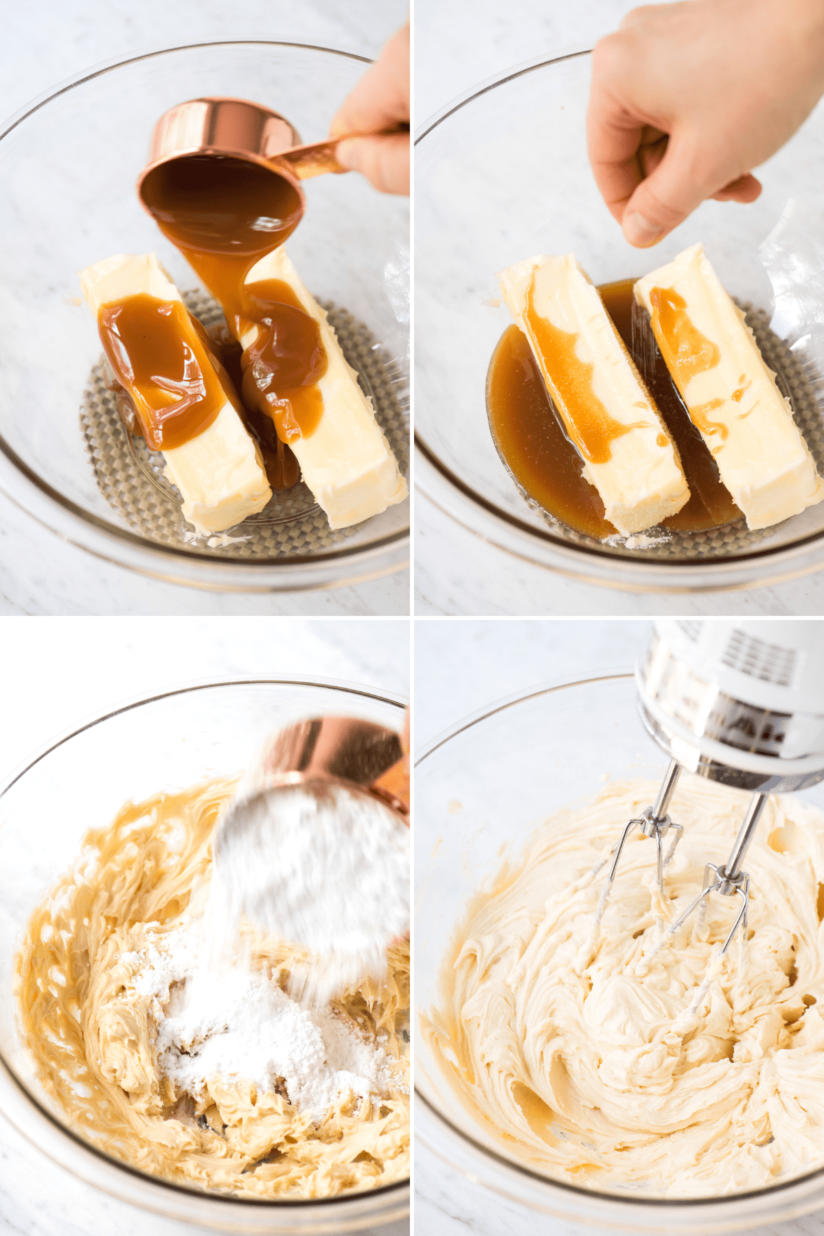 how to make salted caramel frosting collage