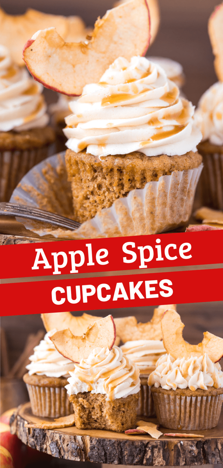 Apple spice cupcakes with salted caramel frosting are a great anytime cupcake, but especially in the fall! These fall applesauce cupcakes feel like a warm hug with applesauce in the batter along with cozy spices like cinnamon, cloves and allspice. #applespicecupcakes #spicecupcakes #fallcupcakes #applesaucecupcakes