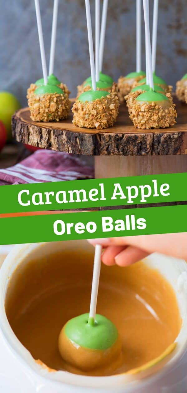 oreo balls that look like caramel apples on round wooden stand with metal background collage with text overlay