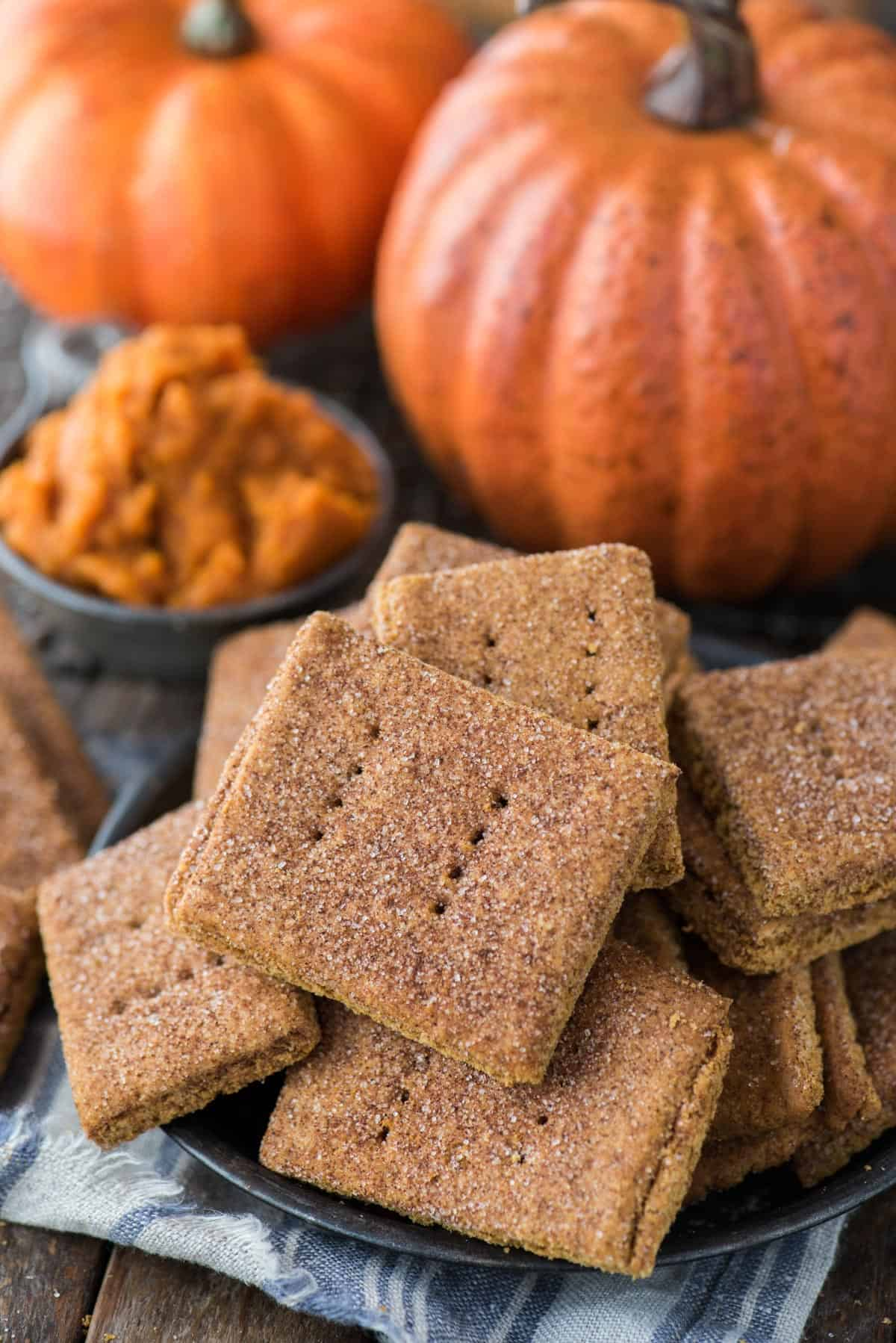 pumpkin graham crackers in a pile in a metal bowl with pumpkins in the background