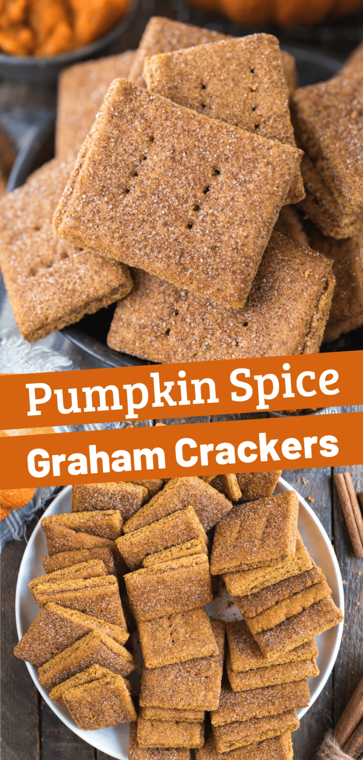 These homemade pumpkin graham crackers are packed with pumpkin spice flavor and give store bought grahams a run for their money! You can easily make these graham crackers gluten free with GF all purpose flour! Your family will love eating these pumpkin spice graham crackers all fall. #grahamcrackers #pumpkingrahamcrackers #pumpkinspice
