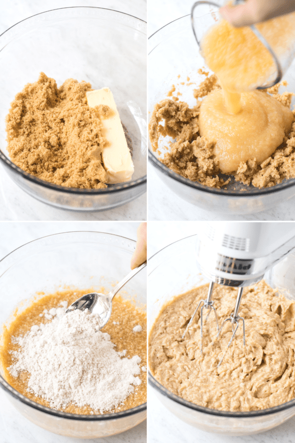 how to make apple spice cupcake batter collage