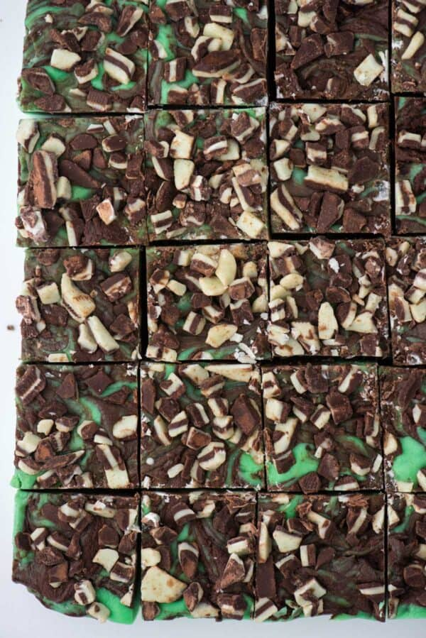 slab of mint chocolate fudge cut into squares