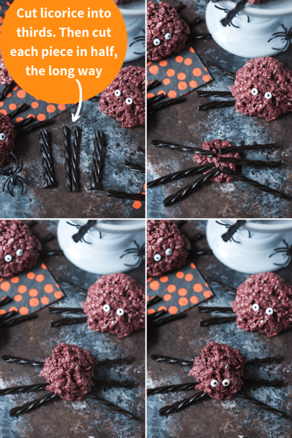 how to make spider rice krispie treats collage