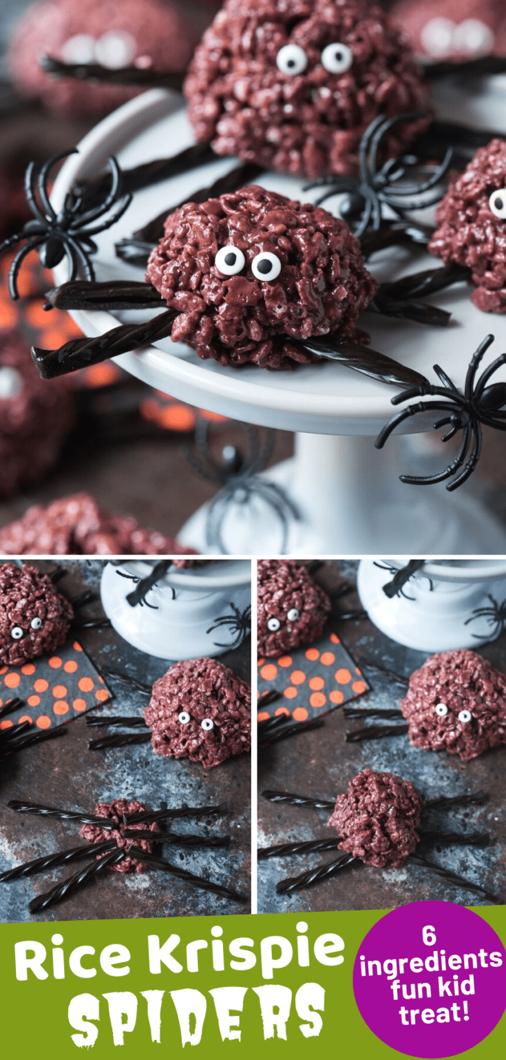 Celebrate Halloween with these easy & spooky spider rice krispie treats! Make your favorite rice krispie recipe into spiders by adding food coloring, licorice legs and candy eye balls. Kids will love to help make this no bake halloween treat. #halloweenricekrispie #ricekrispies #halloweenfood #ediblespiders