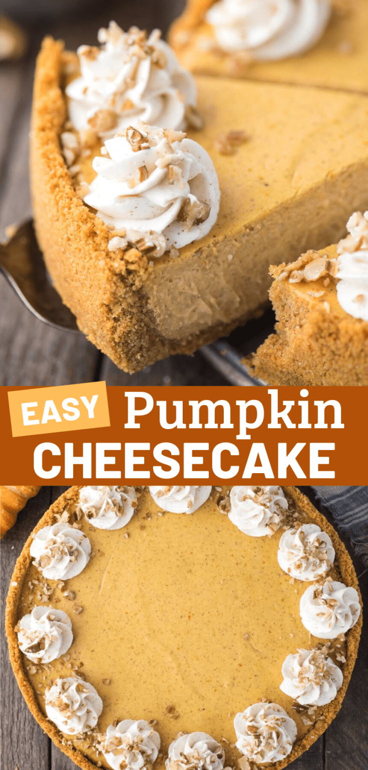 This is a pumpkin cheesecake recipe that you'll use over and over! The pumpkin pie cheesecake batter is 7 ingredients and turns out to be so creamy and pumpkin-y! Plus, you can easily use a graham cracker crust, gingersnap cookie crust, or oreo crust for this fall pumpkin cheesecake. #pumpkincheesecake #pumpkinpiecheesecake #cheesecake #thanksgivingcheesecake