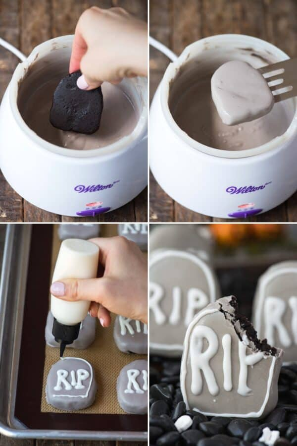 how to make tombstone shape oreo balls collage