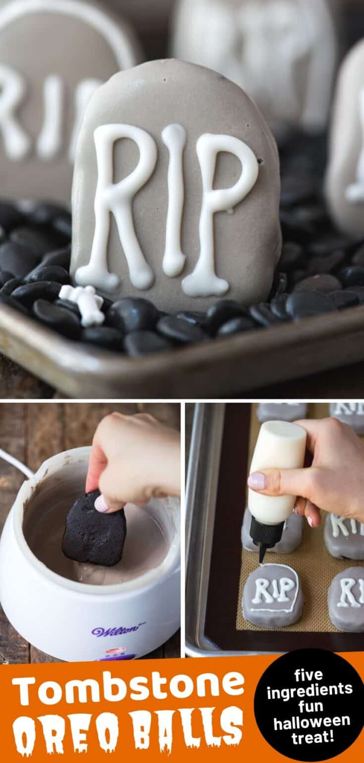 Make these spooky tombstone oreo balls to celebrate Halloween! These halloween oreo truffles are only 5 ingredients, plus display them in a chocolate chip or rock graveyard to really bring the halloween spirit! #halloweenoreoballs #tombstoneoreoballs #oreotruffles #halloweenfood