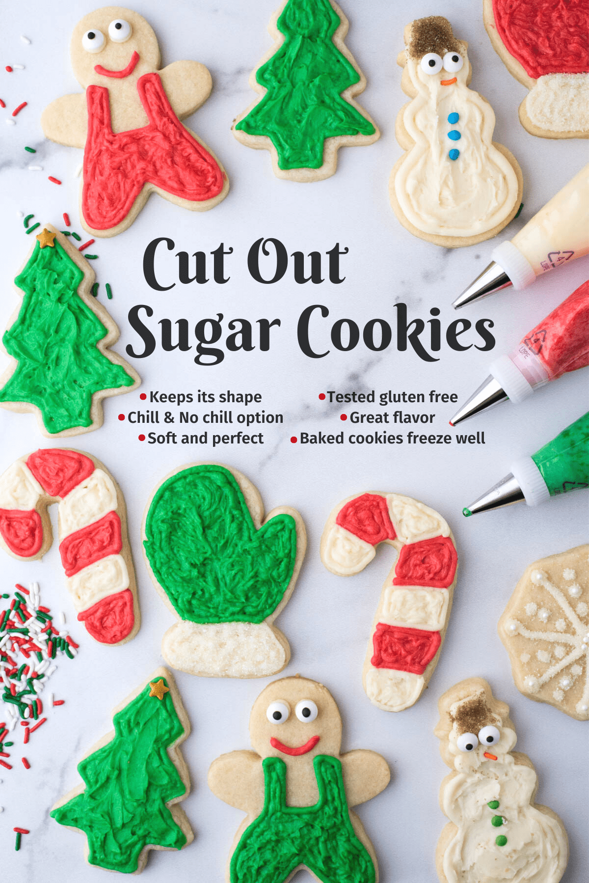christmas cut out sugar cookies on white background collage with text overlay