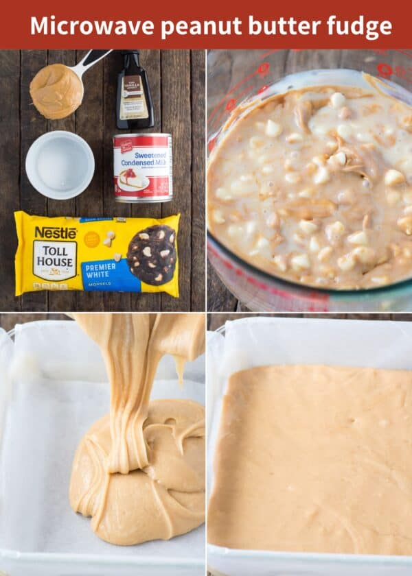 ingredients to make peanut butter fudge and how to make peanut butter fudge collage with text overlay