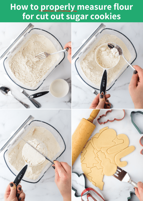 how to properly measure flour for sugar cookies collage
