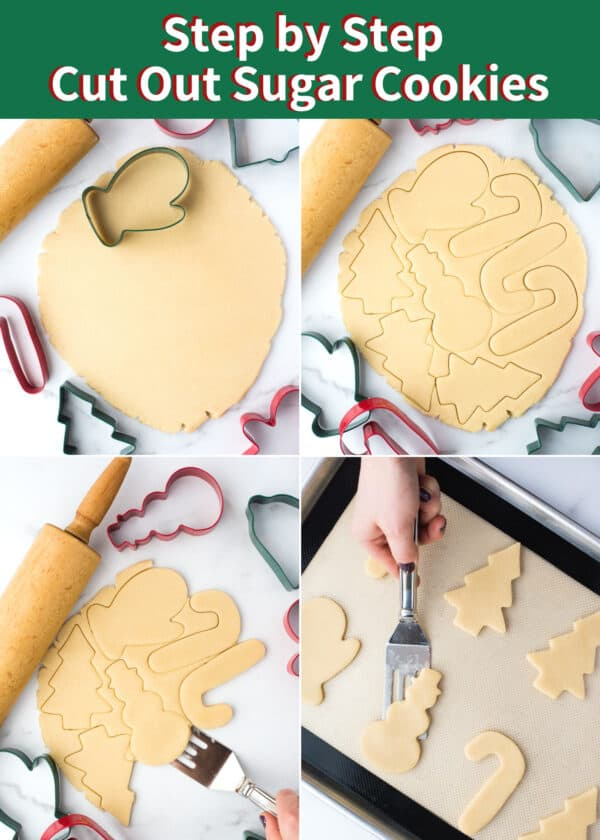 how to make cut out sugar cookies collage with text overlay