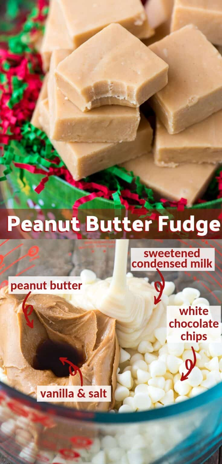 Microwave peanut butter fudge is an easy no bake Christmas dessert that everyone loves! It takes 10 minutes to prep with only 5 ingredients. This fudge is creamy, smooth and fool proof! #peanutbutterfudge #fudge #microwavefudge #christmasfudge
