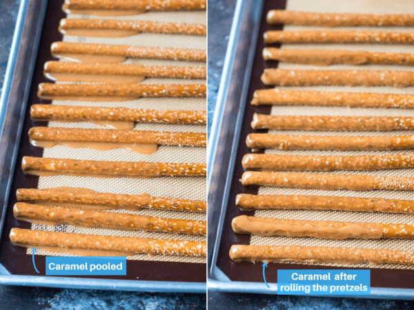 pretzel rods with pooled caramel and pretzel rods with rounded caramel collage