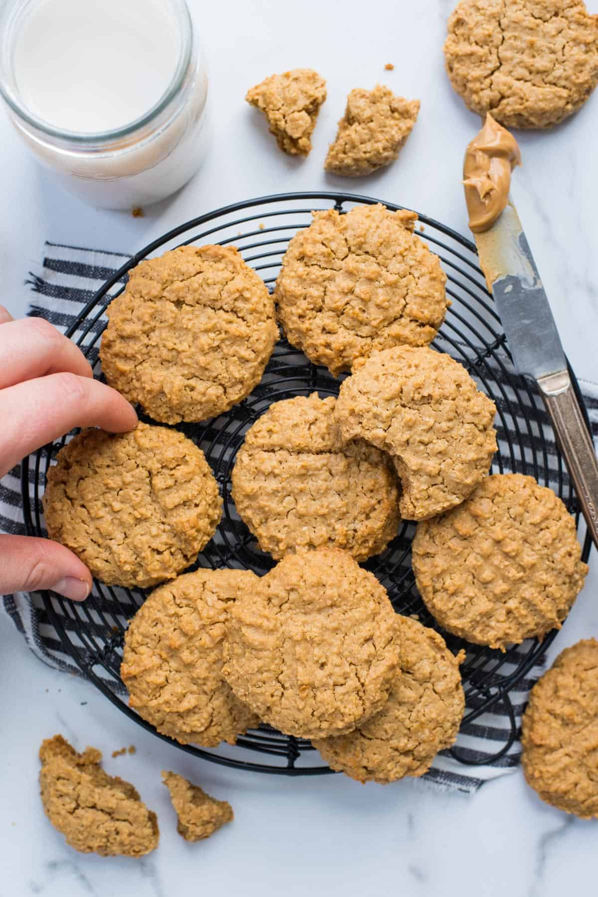healthy peanut butter cookies on a black wire cooling rack on white background