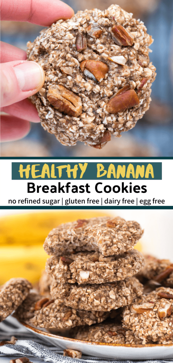 hand holding banana breakfast cookie up close collage image with text overlay