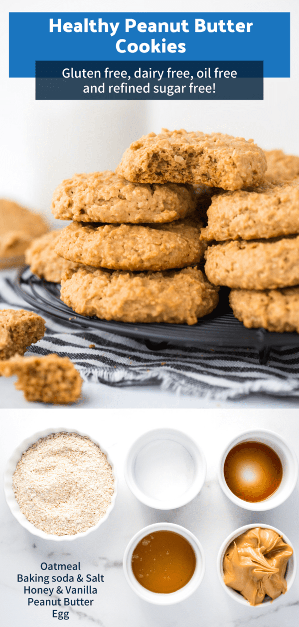 healthy peanut butter cookies in a stack on white background collage with text overlay