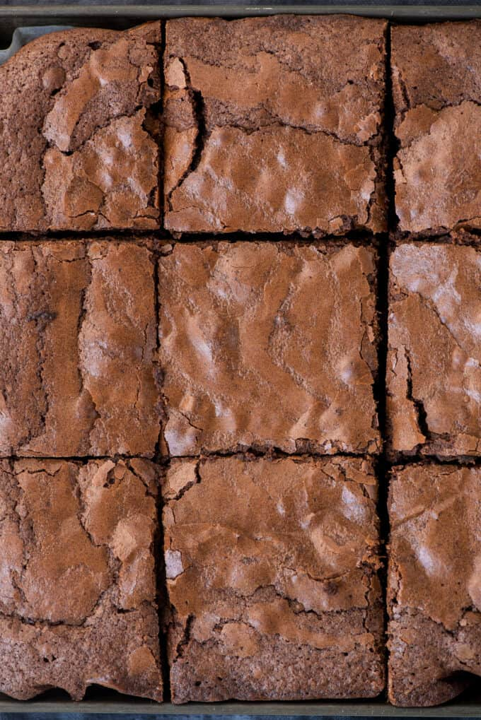 brownies cut into squares in baking pan