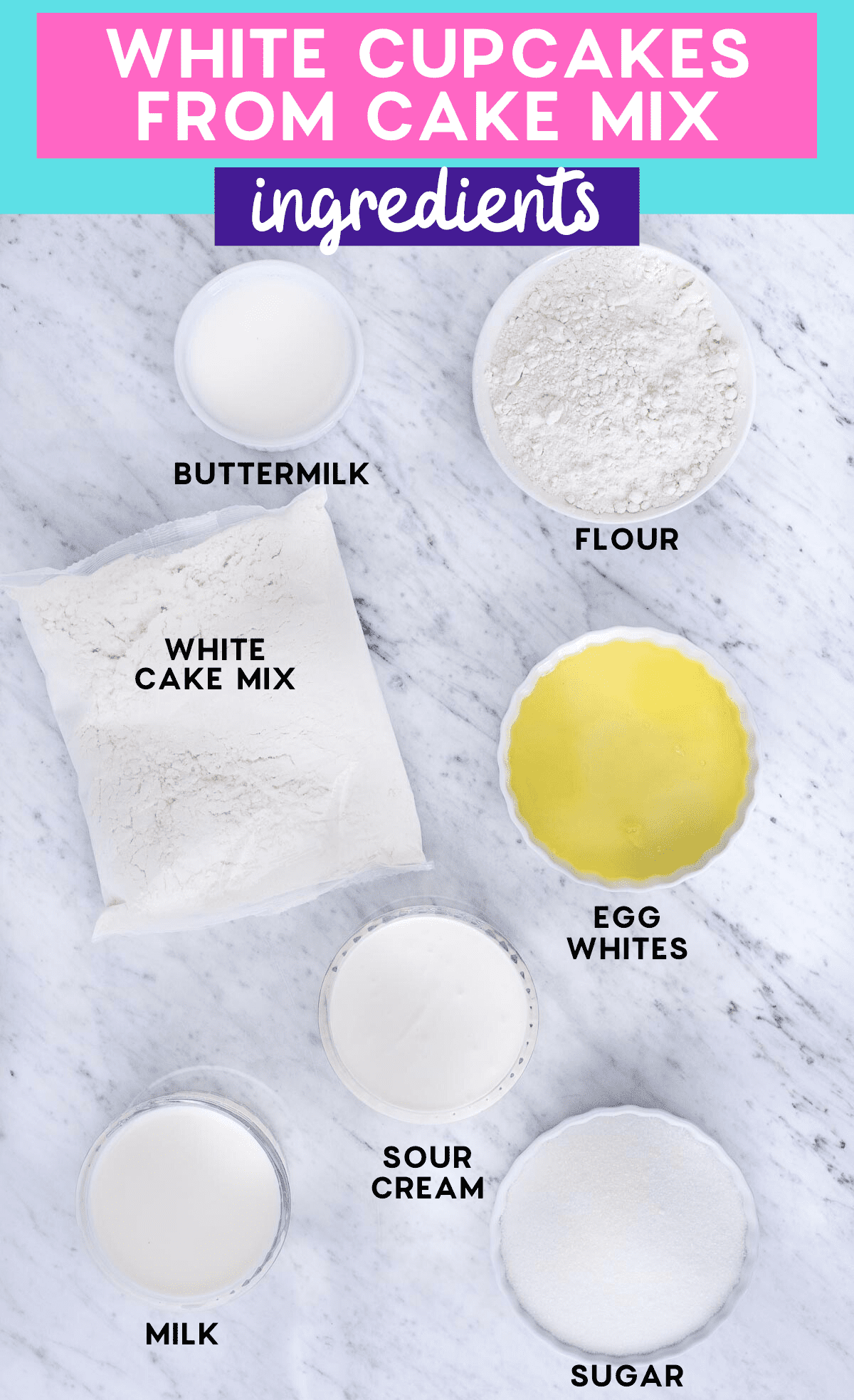 ingredients to make easy vanilla cupcakes on white marble background