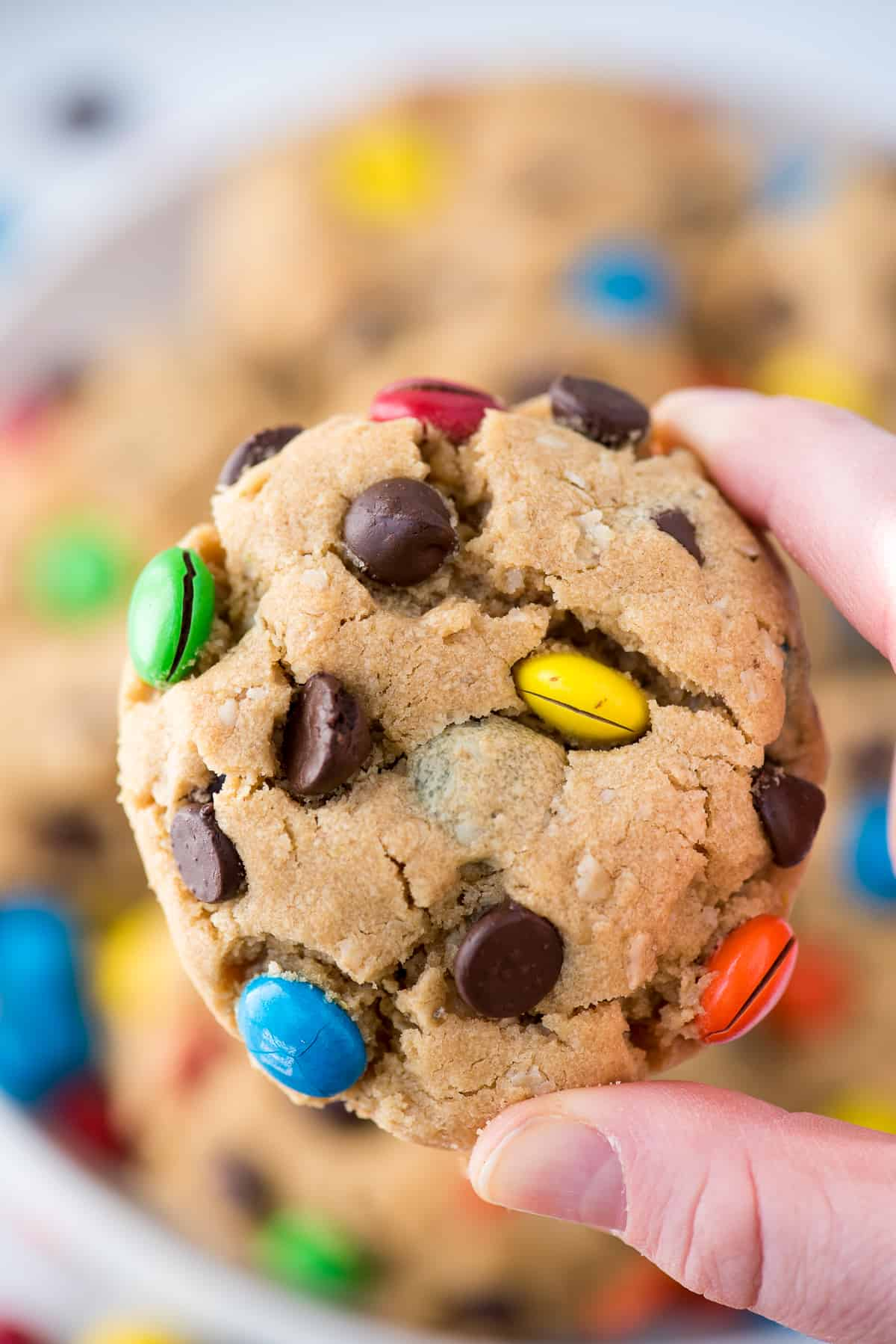 hand holding monster cookie