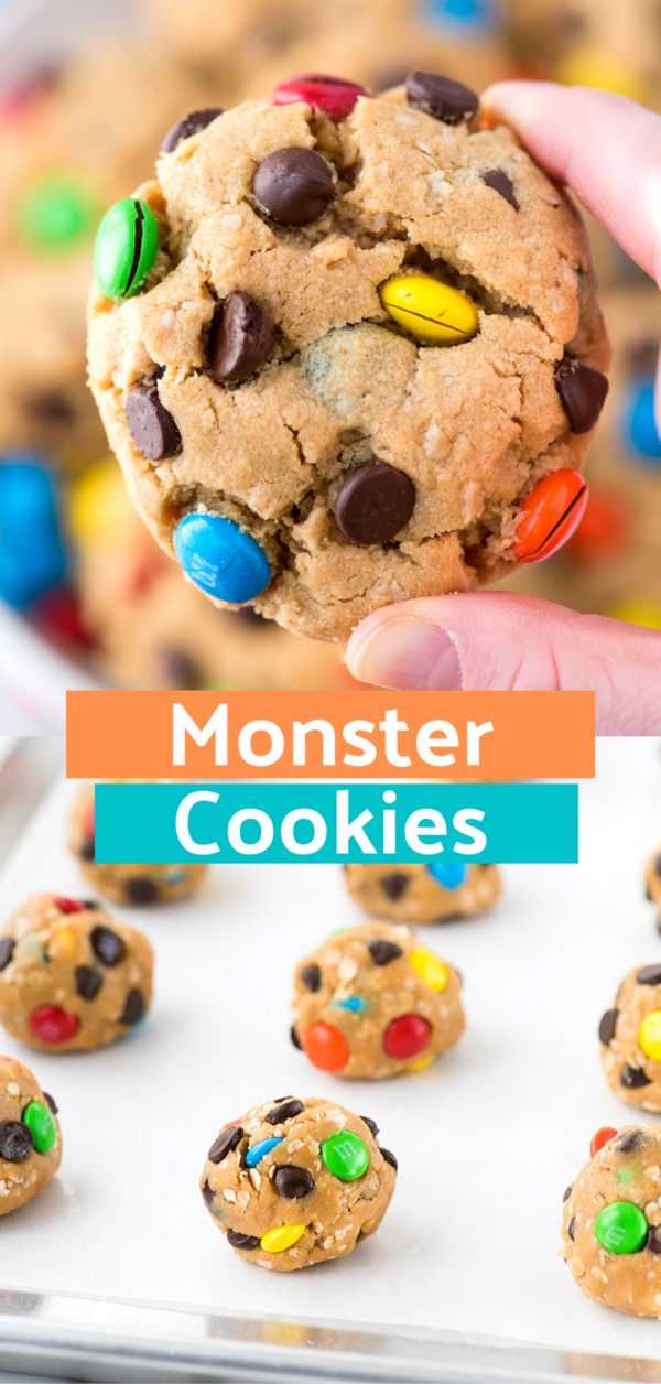 hand holding monster cookie collage with text overlay