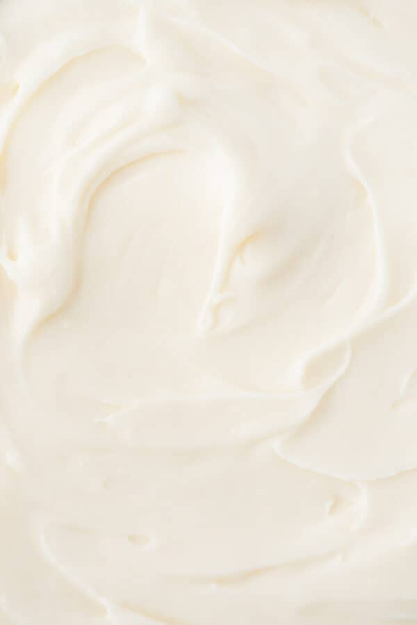 close up of cream cheese frosting