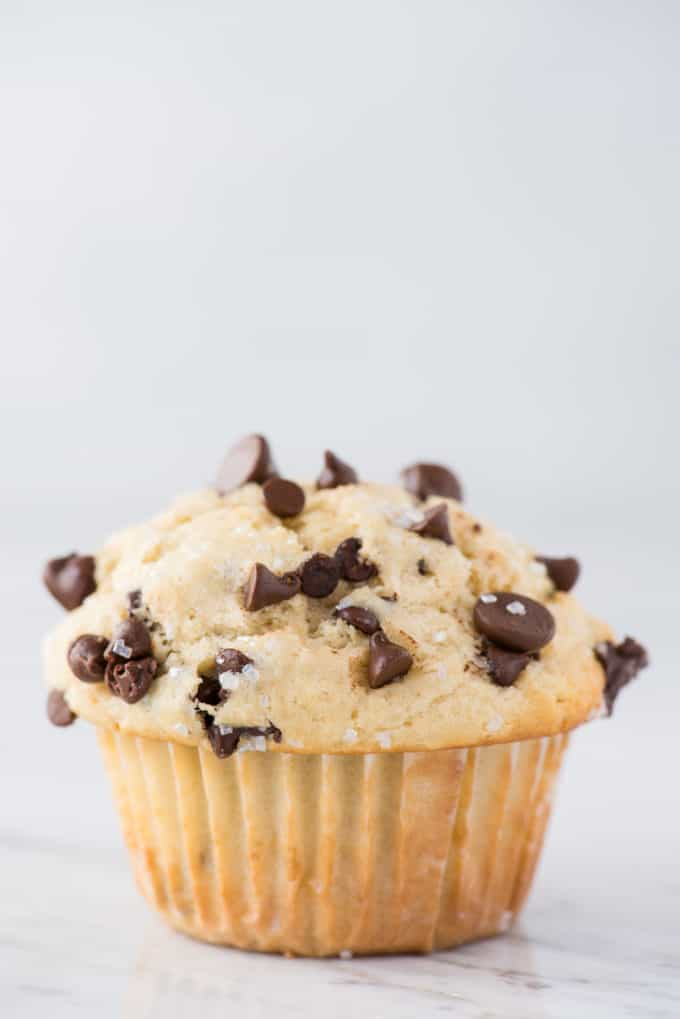 single chocolate chip muffins on white background